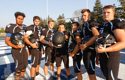 Pleasant Valley's Syrus Tuitele, Kyle Lindquist, Max Andersen,  Ryan Busby, Jordan Cooley, Payton Williams and Ashton Morgan invite you to Asgard Yard August 22, 2016 at Pleasant Valley High School in, Calif. (Emily Bertolino -- Enterprise-Record)