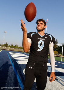 Pleasant Valley High's starting quarterback Kyle Lindquist is ready for the start of football season August 22, 2016 at Pleasant Valley High School in, Calif. (Emily Bertolino -- Mercury Register)