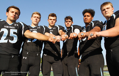 Pleasant Valley's Jordan Cooley, Max Andersen, Payton Williams, Kyle Lindquist,  Syrus Tuitele and Ashton Morgan (left to right) are ready to defend their section championship  August 22, 2016 at Pleasant Valley High School in, Calif. (Emily Bertolino -- Mercury Register)