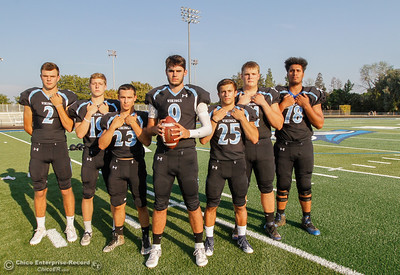 Pleasant Valley starters Payton Williams (2), Max Andersen (19), Ryan Busby (23), Kyle Lindquist (9), Jordan Cooley (25), Ashton Morgan (74) and Syrus Tuitele (78) are ready for the start of the high school football season August 22, 2016 at Pleasant Valley High School in, Calif. (Emily Bertolino -- Enterprise-Record)