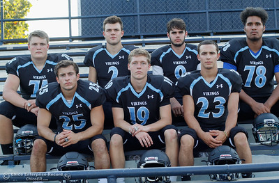 Pleasant Valley High football players Ashton Morgan (74), Jordan Cooley (25), Payton Williams (2), Max Andersen (19), Kyle Lindquist (9), Ryan Busby (23) and Syrus Tuitele (78) are ready to lead their team to the section finals August 22, 2016 at Pleasant Valley High School in, Calif. (Emily Bertolino -- Enterprise-Record)