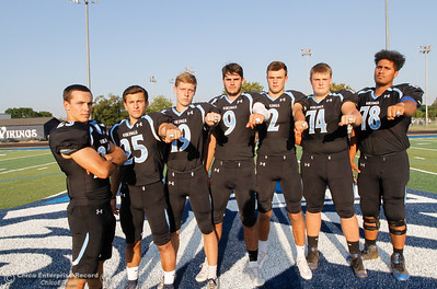 Pleasant Valley's Ryan Busby, Jordan Cooley, Max Andersen, Kyle Lindquist, Payton Williams, Ashton Morgan and Syrus Tuitele are ready to defend their section championship August 22, 2016 at Pleasant Valley High School in, Calif. (Emily Bertolino -- Enterprise-Record)