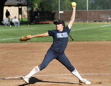Pleasant Valley's Sarah Salinas pitches against cross town rival Chico High Thursday April 20, 2017 in Chico, California. (Emily Bertolino -- Enterprise-Record)