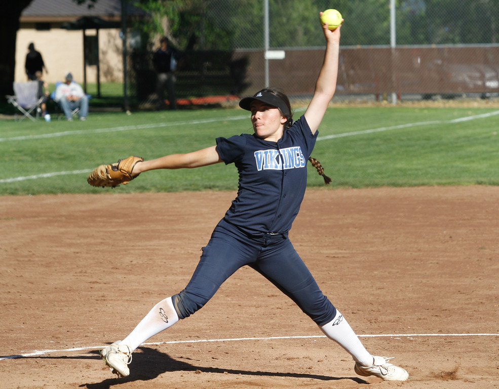 . Pleasant Valley\'s Sarah Salinas pitches against cross town rival Chico High Thursday April 20, 2017 in Chico, California. (Emily Bertolino -- Enterprise-Record)