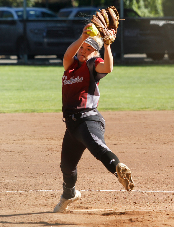 . Chico High\'s Marissa Woolsey steps up to pitch against cross town rivals Pleasant Valley Thursday April 20, 2017 in Chico, California. (Emily Bertolino -- Enterprise-Record)