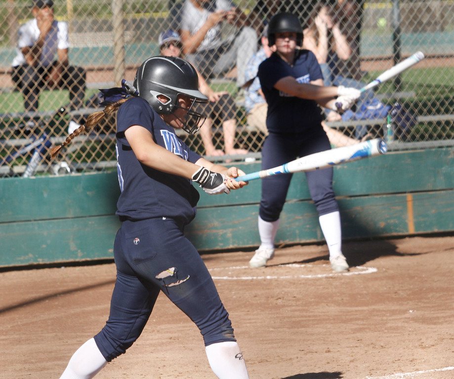 . Cross town rivals Pleasant Valley and Chico High School girls softball Thursday April 20, 2017 in Chico, California. (Emily Bertolino -- Enterprise-Record)