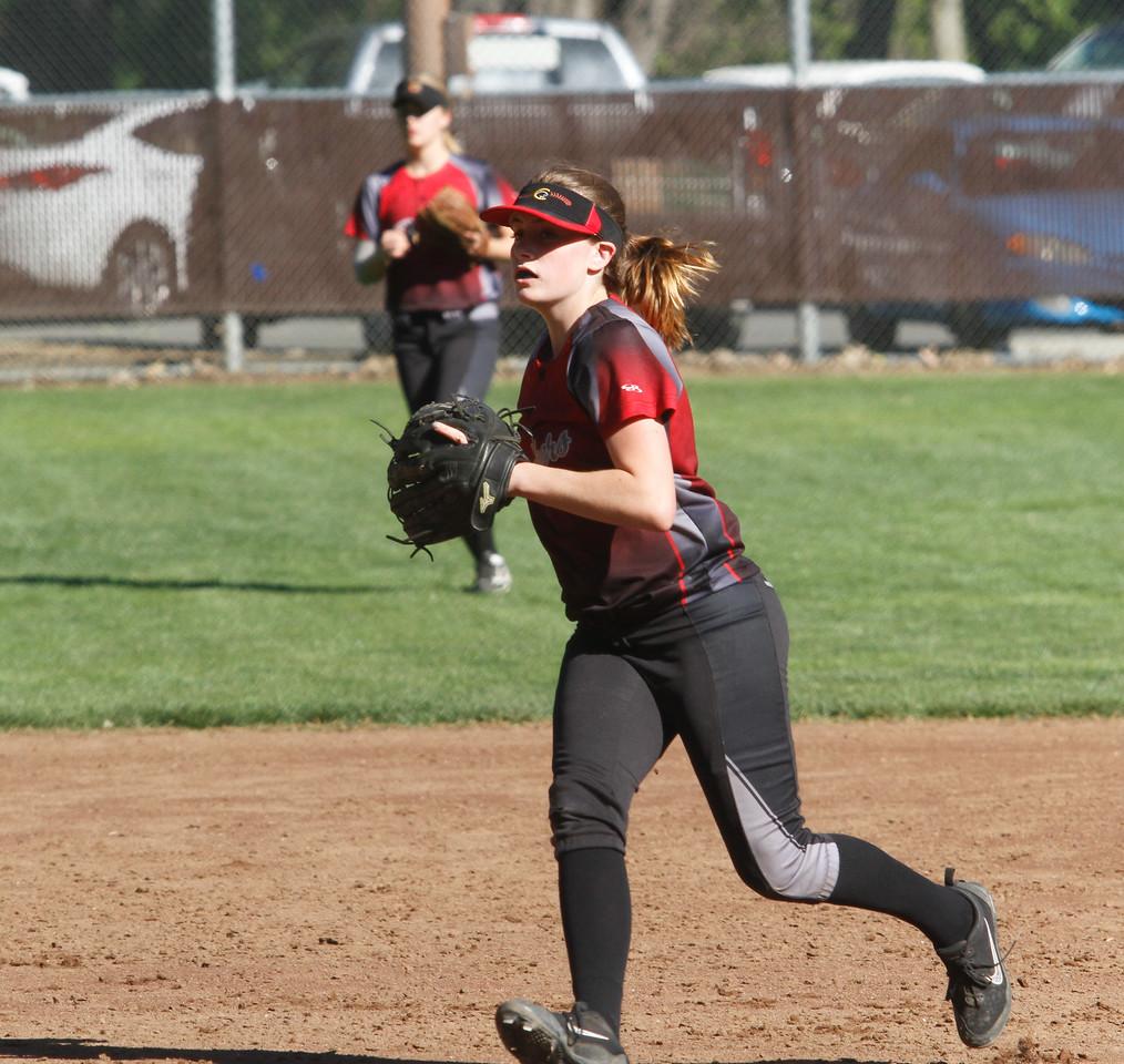 Cross town rivals Pleasant Valley and Chico High School girls softball Thursday April 20, 2017 in Chico, California. (Emily Bertolino -- Enterprise-Record)