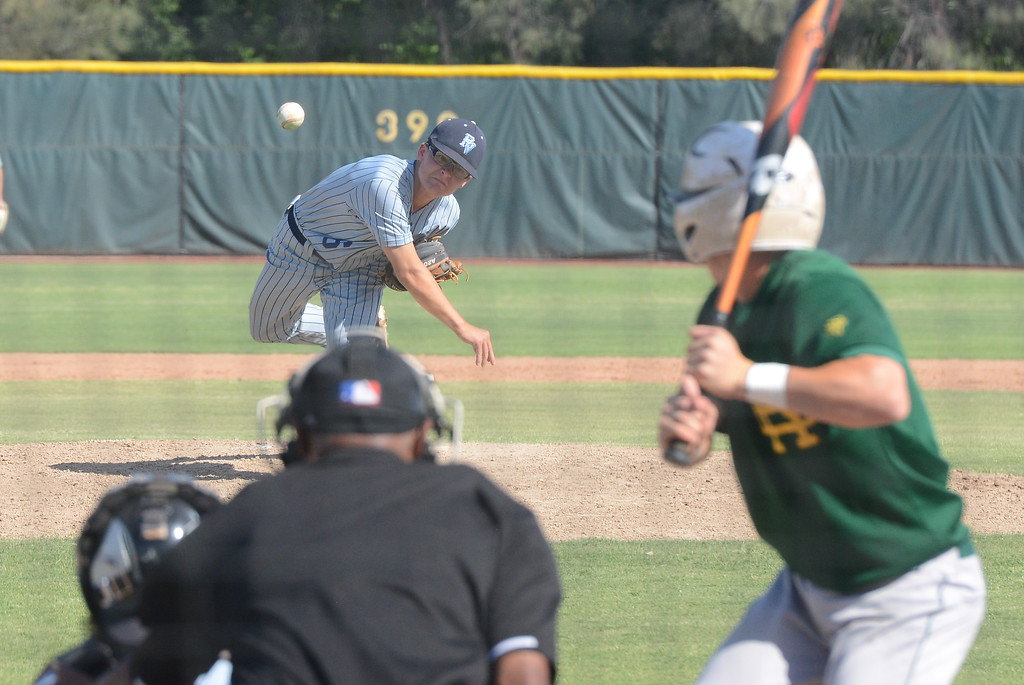 . Pleasant Valley High\'s Tyler Egbert pitches the ball during the Section Final against Red Bluff, May 19, 2018,  in Chico, California. (Carin Dorghalli -- Enterprise-Record)