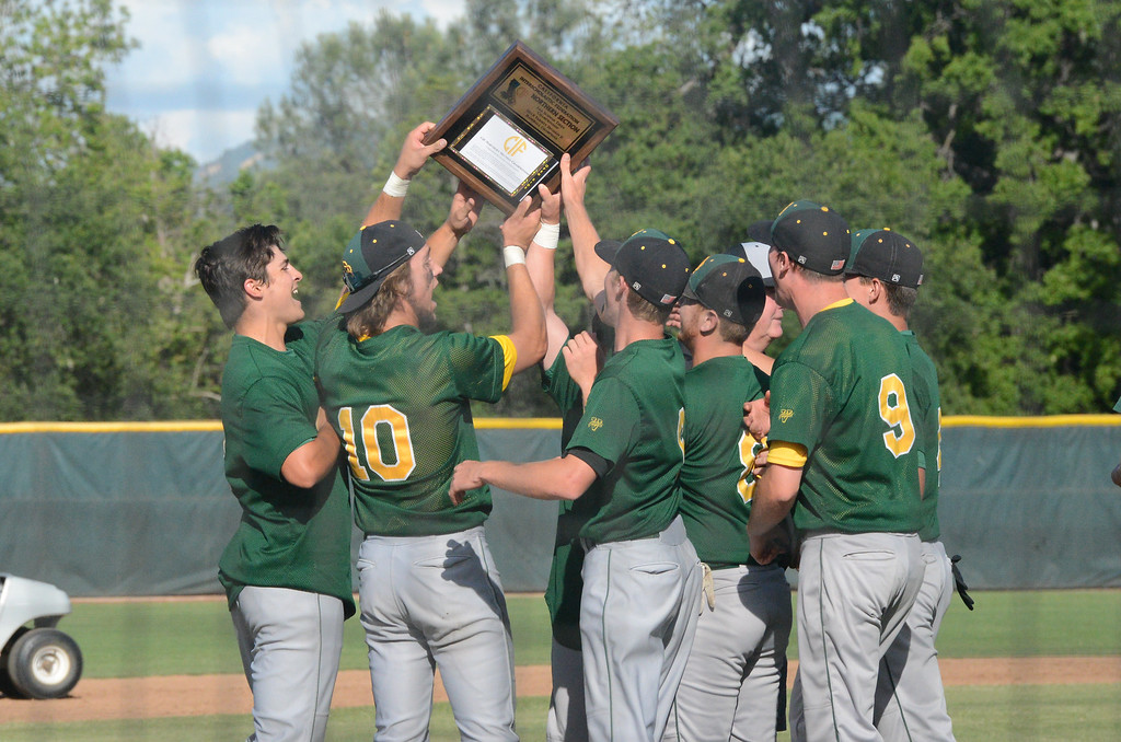 . Red Bluff High players celebrate their victory over Pleasant Valley High in the Section Final, May 19, 2018,  in Chico, California. (Carin Dorghalli -- Enterprise-Record)