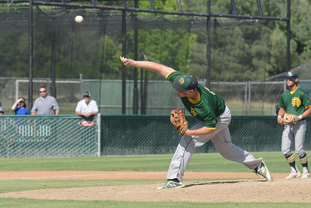 . Red Bluff High\'s Ian Skjegstad pitches the ball during the Section Final against Pleasant Valley High, May 19, 2018,  in Chico, California. (Carin Dorghalli -- Enterprise-Record)