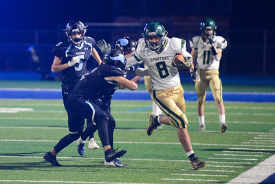Red Bluff's Brendan Ortega runs with the ball during the semi final Northern Section Division II football playoff game against Pleasant valley, Saturday, Nov. 24, 2018, at Asgard Yard in Chico, California. (Carin Dorghalli -- Enterprise-Record)