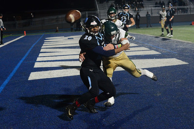 Pleasant Valley's Alex Torres (20) and Red Bluff's Trevor Kindworthy (14) collide during the semi final Northern Section Division II football playoff game, Saturday, Nov. 24, 2018, at Asgard Yard in Chico, California. (Carin Dorghalli -- Enterprise-Record)