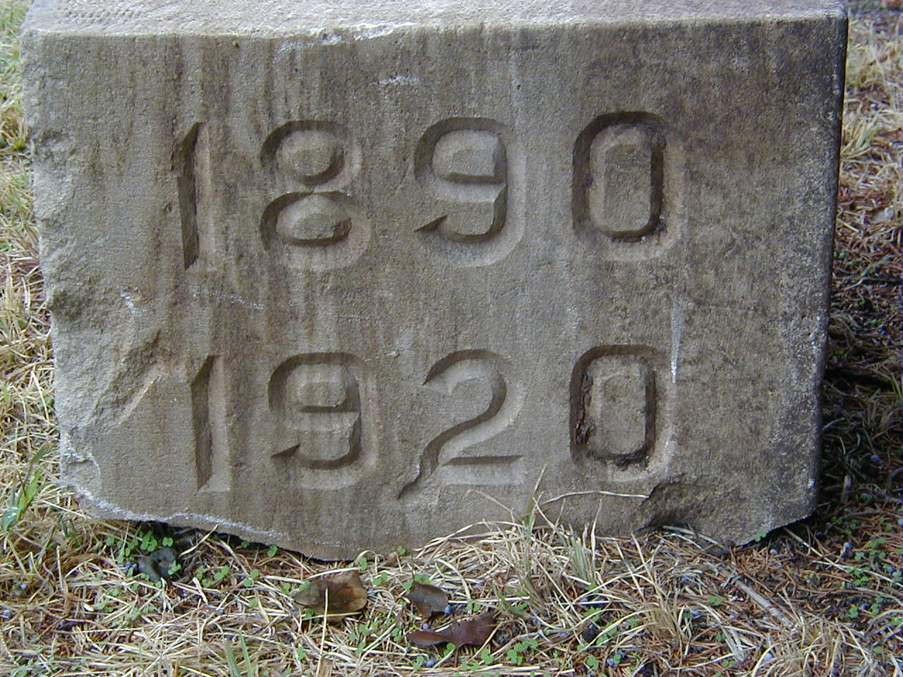 Cornerstone from brick addition of Old Folks Home. This block was kept by Roger Hornbaker when he remodeled the Old Folks Home into our family farm house. The dates signify that the home had been in operation from 1890 - 1920 up to that point