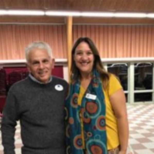 Board member Jerry Serra of Methuen and Chelmsford Senior Center Director Deb Siriani