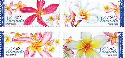 """Frangipani Stamps<br /> <br /> Vanuatu<br /> An island nation located in the South Pacific Ocean<br /> <a href=""""http://www.vanuatupost.vu/frangipani.html"""">http://www.vanuatupost.vu/frangipani.html</a>"""