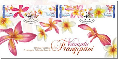 """Vanuatu Frangipani<br /> <br /> Vanuatu.<br /> An island nation located in the South Pacific Ocean.<br /> <br /> Source and Link:<br /> Philatelic Bureau,<br /> Vanuatu Post, Port Vila, Vanuatu<br /> <a href=""""http://www.vanuatupost.vu/frangipani.html"""">http://www.vanuatupost.vu/frangipani.html</a><br /> <br /> Plumeria (common name Frangipani) is a small genus native to subtropical and tropical Mexico and Central America. Plumeria has spread to all tropical areas of the world, especially Hawaii, the South Pacific, India and as far as Eastern Africa. The genus, originally spelled Plumiera, is named in honour of the seventeenth-century French botanist Charles Plumier who traveled to the New World documenting many plant and animal species. The common name """"Frangipani"""" comes from the Marquess of a 16th century Italian noble family, who invented a plumeria-scented perfume.<br /> <br /> Plumeria is generally a medium-sized tree growing to about 10M high. Its broad, usually round-headed canopy is often as wide as the tree is tall. The species and hybrids vary in tree size, compactness, branching character, leaf and flower size and colour, and deciduousness. In deciduous types the hybrids vary in tree size, compactness, branching character, leaf and flower size and colour, and deciduousness. In deciduous types the leaves fall during wintertime while hybrids tend to retain their foliage year-round. The flowers expand into a """"pinwheel"""" of five petals and may be white, red, yellow, pink, or multiple colors. The hybrids differ in their profusion of blooms, with some producing more than 200 flowers per cluster and others only 50–60 flowers. The trees grow easily in hot, dry areas and are usually found from sea level to 700M elevation, but require full sun and grow best in well-drained, slightly acidic soil. They have moderate wind resistance and salt tolerance and reach maturity in about five years.<br /> <br /> Plumeria possesses poisonous, milky sap and its flowers are most fra"""