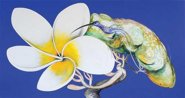 Brett Whiteley painting.<br /> Frangipani and humming bird - Japanese: Summer