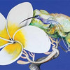 Brett Whiteley painting.<br /> Frangipani and humming bird - Japanese: Summer