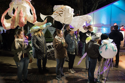 The dozens of luminaries carried in the Plymouth 400 procession to the waterfront were mad by students from all 12 Plymouth Public Schools.  Wicked Local Photo/Denise Maccaferri