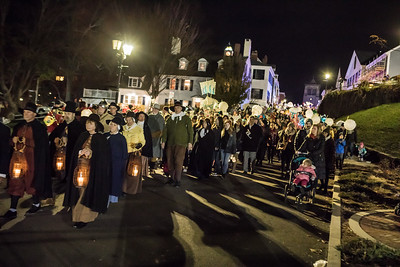 The Plymouth 400 Illuminate procession proceeds down Leyden Street from the Illuminate ceremony, part one,  in the First Parish Church of Plymouth, to reassemble for part 2 of the ceremony on the waterfront.  Wicked Local Photo/Denise Maccaferri