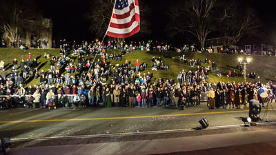 A large crowd of people gather on Coles Hill and Water St. to observe and participate the Plymouth 400 Illuminate Ceremony. Wicked Local Photo/Denise Maccaferri
