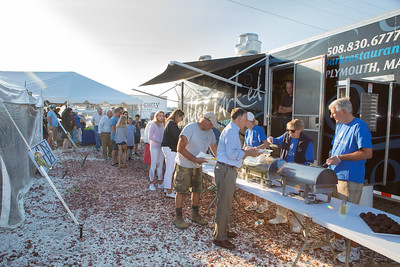 Hungry Bass & Blue Captains and Crew Kickoff Dinner guests line up for the great meal donated by Alden Park Bar & Grill. Wicked Local Photo/Denise Maccaferri
