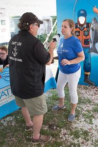 WATD Radio's Captain Lou interviews Plymouth 400 Executive  Miche3le Pecoraro during it's live remote broadcast.    Wicked Local Photo/Denise Maccaferri