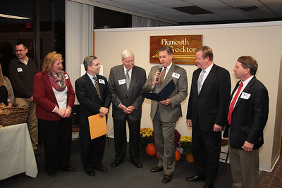 Board of Selectmen Chairman Mathew Muratore, third from right, reads Proclamation in recognition of P&B Railway's Service on its 125th  Anniversary during the Chamber's  Business After Hours event. From left: Assitant to President Carol Anzuoni, Selectam Tony Provenzano, P&B President George Anzuoni, P&B VP Christopher Anzuoni, P&B GM Mark Richardson.
