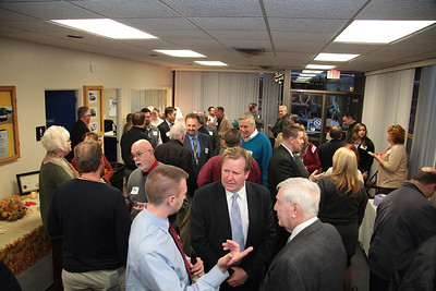 The room at the Plymouth & Brockton Street Railway was crowded with Chamber members offering  best wishes to Denis Hanks during this, his last Business After Hours event before moving to Florida.