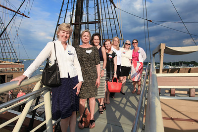 A bevy of Plymouth Area Chamber members lines the Mayflower II ramp, Front to back, Pat Carroll of WPLM, Georgia Cosgrove of Plimoth Plantation,  Michelle Labich of Plymouth Rock Moving & Storage, Laurel Hartmean, Cape & Plymouth Business Publishing, Donna Ouelette  of Northeast Community Bank, Anne Berrault of Curry College. Wicked Local Photo/Denise Maccaferri