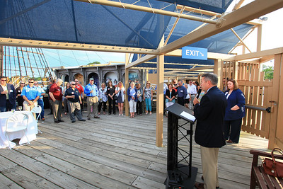 Plymouth Area Chamber of Commerce Executive Director Kevin O'Neil welcomes Chamber members the Mayflower II venue for June Business After Hours event. Wicked Local Photo/Denise Maccaferri