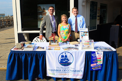 Plimoth Plantation Director of Marketing and Sales Rob Kluin,  PACC Executive Director, Kevin O'Reilly and PACC Director of Membership & Events Meaghan Doherty were on hand to greet PACC members to the Business After Hours at the Mayflower.Wicked Local Photo/Denise Maccaferri