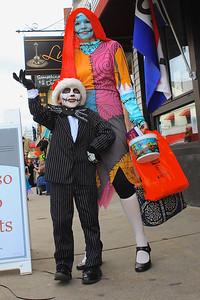 "Kobi and Robin Polisky roam Main Street as ""Nightmare Before Christmas characters, Jack and Sally."