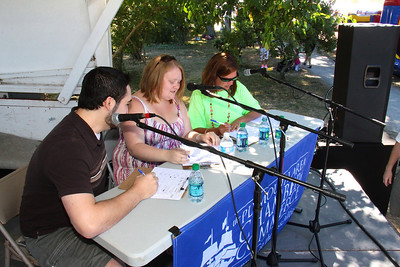 America's Hometown Sing Off competition judges, make their decision on  who will be the 2013 Plymouth Idol.  From left, Daniel Steven of WPLM, 2008 Plymouth Idol winner, Casey Bishop, Plymouth 400 committee member, Cheryl Soares.