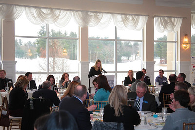 "Interim Plymouth Area Chamberof Commerce Director Amy  Naples presents the ""State of the Chamber address."