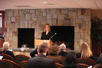 Laurie Curtis conducts her final Plymouth Area Chamber Business Meeting as Chairwoman of the Board Directors before the Annual Members Luncheon last Friday.