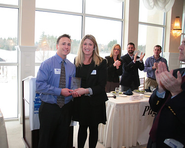 Brian Faghan PTA of Long Pond Physical Therapy receives the Plymouth Area Chamber of Commerce Businss Person of the Year Award for interim Director Amy Naples.