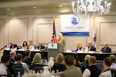 State Senator Susan Moran addresses the Plymouth Area Chamber of Commerce annual Legislative Breakfast last Friday morning at the 1620 Hotel.