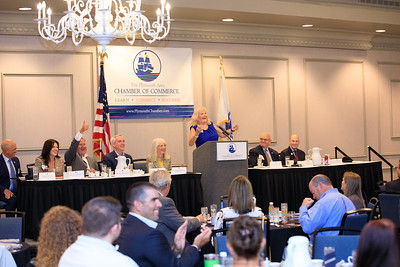 PACC Government Affairs Committee Chair Sharon Brown begins the annual Legislative Breakfast off with a big laugh.