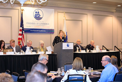 Plymouth Area Chamber of Commerce Executive Director Amy Naples welcomes legislators Chamber members and guests to the annual Legislative Breakfast held on Friday October 1.