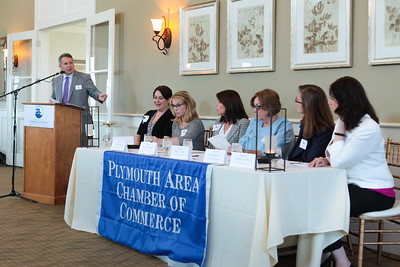 Plymouth Chamber Executive Director Kevin O'Neil welcomes the five influential business women to the Chamber's 2016 Empowering Women Business Panel Luncheon held last Thursday at Waverley Oaks.  Wicked Local Photo/Denise Maccaferri