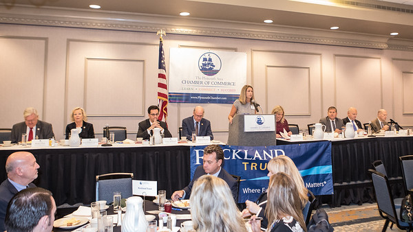 Plymouth Area Chamber of Commerce Executive Director Amy Naples welcomes Chamber members and guests to the Annal Legislative Breakfast held last Thursday at the Hotel 1620.  The panel from left,  State Rep Randy Hunt, State Rep Susan Williams Gifford, State Senator (not seated), Michael D. Brady, State Senator Vinny deMacedo, U.S. Congressman William Keating,  Event  Moderator Christie Nelson, Sate Rep Josh Cutler, State Rep Matt Muratore, Plymouth Country District Attorney Timothy J. Cruz, Plymouth County Register of Deeds, John R. Buckley Jr. Wicked Local Photo/Denise Maccaferri