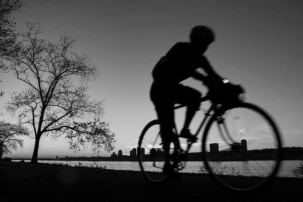 Cyclist Silhouette. Hudson River Greenway, New York, NY. 2016