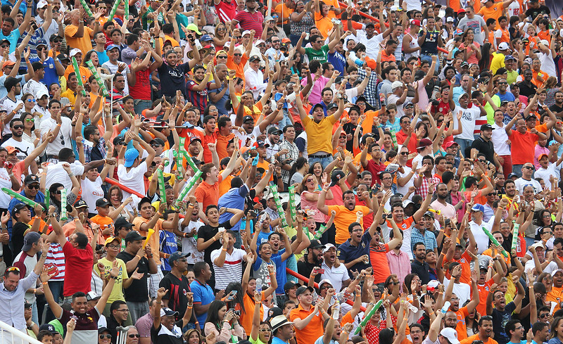Cibao FC fans celebrates goal from Sam Colson, Cibao FC Vs Moca FC. Liga Dominicana de Fútbol Banco Popular 2015. Santiago, Dominican Republic.