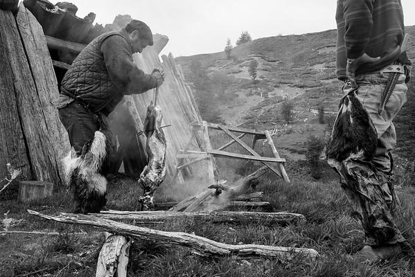 Segua y Oscar preparando el asado de cordero al palo después de haber terminado un arreo de 300 vacunos a la cordillera. Mallín Grande 2017