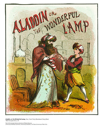 Aladdin or the Wonderful Lamp, illus. from Fairy Moonbeam Story Book<br /> 1880, McLoughlin Bros., NY<br /> <br /> <br /> From the personal library of Robert Duncan. The Poetry Collection, University Libraries<br /> University at Buffalo, The State University of New York
