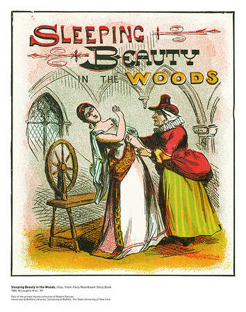 Sleeping Beauty in the Woods, illus. from Fairy Moonbeam Story Book<br /> 1880, McLoughlin Bros., NY<br /> <br /> <br /> From the personal library of Robert Duncan. The Poetry Collection, University Libraries<br /> University at Buffalo, The State University of New York