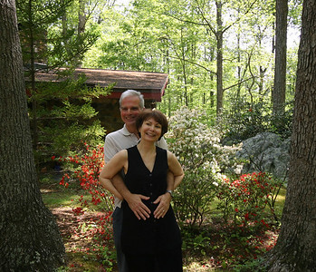 After much encouragement, Roberta and her husband, Frank Stella, mug in front of the azaleas.