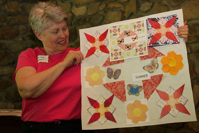 Diane contacted quilter Holly Sweet and asked her to create a set of four display quilts based on the artwork in the book. The project is still in progress, but Holly was able to show us the designs that she will execute.