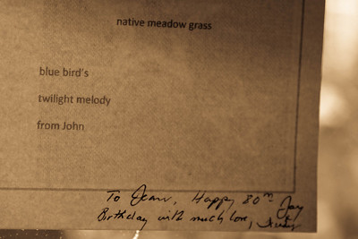 A page of haiku to Jean Earnhart from Jay, her neighbor. Jean has hosted all of our Haiku Holidays.